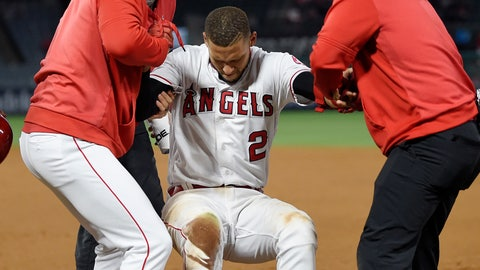 <p>               Los Angeles Angels' Andrelton Simmons, center, is helped up by manager Brad Ausmus, left, and a trainer after he was injured while being thrown out at first during the eighth inning of a baseball game against the Minnesota Twins Monday, May 20, 2019, in Anaheim, Calif. (AP Photo/Mark J. Terrill)             </p>
