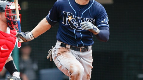 <p>               Tampa Bay Rays' Austin Meadows hits an RBI single off Cleveland Indians relief pitcher Nick Wittgren during the seventh inning of a baseball game, Sunday, May 26, 2019, in Cleveland. (AP Photo/Ron Schwane)             </p>