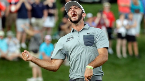 <p>               Max Homa celebrates after winning the Wells Fargo Championship golf tournament at Quail Hollow Club in Charlotte, N.C., Sunday, May 5, 2019. (AP Photo/Chuck Burton)             </p>