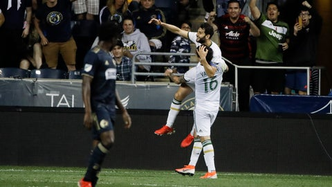 <p>               Portland Timbers' Diego Valeri celebrates a goal with Zarek Valentin (16) during the first half of an MLS soccer match against the Philadelphia Union in Chester, Pa., Saturday, May 25, 2019. (AP Photo/Matt Rourke)             </p>