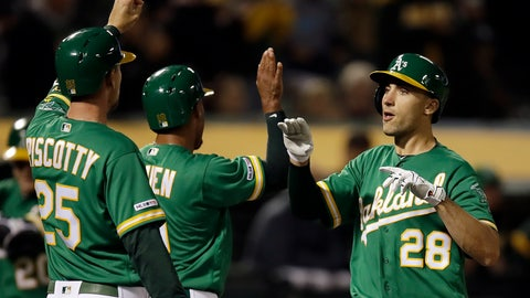 <p>               Oakland Athletics' Matt Olson, right, celebrates with Stephen Piscotty (25) and Marcus Semien, center, after hitting a three-run home run off Seattle Mariners' Wade LeBlanc during the fourth inning of a baseball game Friday, May 24, 2019, in Oakland, Calif. (AP Photo/Ben Margot)             </p>
