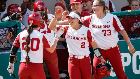 <p>               FILE - In this Feb. 15, 2019, file photo, Oklahoma's Caleigh Clifton (20), Sydney Romero (2) and Parker Conrad (73) celebrate during an NCAA college softball game against Florida State in Clearwater, Fla. Oklahoma has matched the Division I record for consecutive wins in a season with 38 and can break the record Friday in the Big 12 Tournament against Texas Tech. The Sooners have done it with talent, balance and a business-like approach. (AP Images/Casey Brooke Lawson via AP, File)             </p>