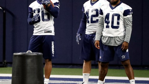 <p>               In this Friday, May 10, 2019 photo, Dallas Cowboys rookies, running back Tony Pollard (36), fullback Joe Protheroe (42) and running back Mike Weber Jr., wait to participate in a drill during a NFL football mini camp at the team's training facility in Frisco, Texas. (AP Photo/Tony Gutierrez)             </p>
