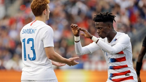 <p>               FILE - In this May 28, 2018, file photo, United States' Josh Sargent, left, and Tim Weah celebrate during an international friendly soccer match against Bolivia in Chester, Pa. Weah was included on the U.S. roster for the FIFA Under-20 World Cup on Friday, May 10, 2019, but Sargent was not, making it likely he will be with the senior national team at the CONCACAF Gold Cup this summer. (AP Photo/Matt Slocum, File)             </p>