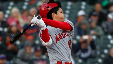 <p>               Los Angeles Angels' Shohei Ohtani loses his helmet as he bats against the Detroit Tigers during the first inning of a baseball game in Detroit, Tuesday, May 7, 2019. Ohtani struck out. (AP Photo/Paul Sancya)             </p>