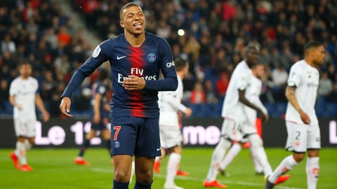 <p>               PSG's Kylian Mbappe celebrates after scoring his side's fourth goal during their League One soccer match between Paris Saint Germain and Dijon at the Parc des Princes stadium in Paris, France, Saturday, May 18, 2019. (AP Photo/Francois Mori)             </p>