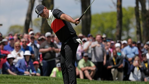 <p>               Brooks Koepka watches his putt drop for birdie on the ninth hole during the first round of the PGA Championship golf tournament, Thursday, May 16, 2019, at Bethpage Black in Farmingdale, N.Y. (AP Photo/Julio Cortez)             </p>