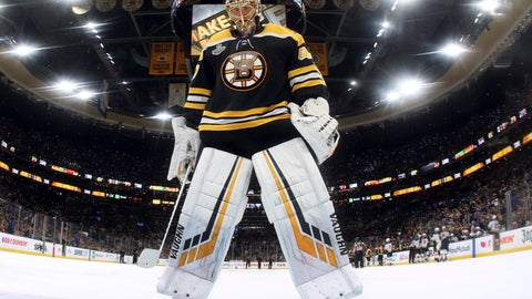 <p>               Boston Bruins goaltender Tuukka Rask, of Finland, skates into position in front of the net during the second period in Game 2 of the NHL hockey Stanley Cup Final against the St. Louis Blues, Wednesday, May 29, 2019, in Boston. (Bruce Bennett/Pool via AP)             </p>