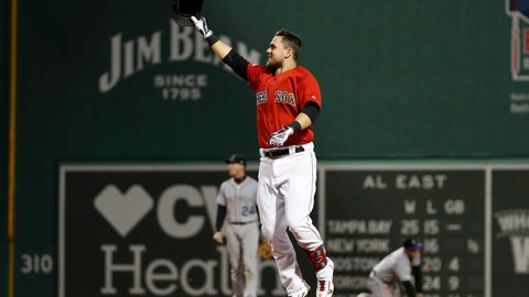 <p>               Boston Red Sox's Michael Chavis celebrates his walk-off RBI single against the Colorado Rockies during the 10th inning of a baseball game Wednesday, May 15, 2019, at Fenway Park in Boston. The Red Sox won 6-5. (AP Photo/Winslow Townson)             </p>