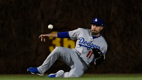 <p>               Los Angeles Dodgers center fielder A.J. Pollock catches a fly ball hit by Chicago Cubs' Cole Hamels during the third inning of a baseball game Wednesday, April 24, 2019, in Chicago. (AP Photo/Paul Beaty)             </p>