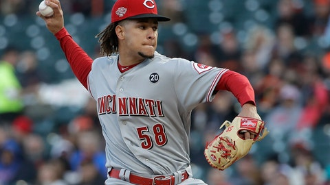 <p>               Cincinnati Reds pitcher Luis Castillo throws to a San Francisco Giants batter during the first inning of a baseball game in San Francisco, Friday, May 10, 2019. (AP Photo/Jeff Chiu)             </p>