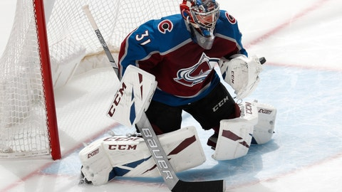 <p>               Colorado Avalanche goaltender Philipp Grubauer deflects a San Jose Sharks shot during the first period of Game 4 of an NHL hockey second-round playoff series Thursday, May 2, 2019, in Denver. (AP Photo/David Zalubowski)             </p>