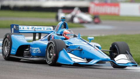 <p>               Felix Rosenqvist, of Sweden, drives through a turn during practice for the Indy GP IndyCar auto race at Indianapolis Motor Speedway, Friday, May 10, 2019 in Indianapolis. (AP Photo/Michael Conroy)             </p>