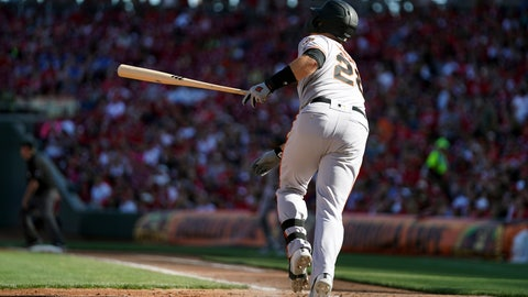 <p>               San Francisco Giants' Buster Posey watches his three-run home run in the sixth inning of a baseball game against the Cincinnati Reds, Sunday, May 5, 2019, in Cincinnati. (AP Photo/Aaron Doster)             </p>