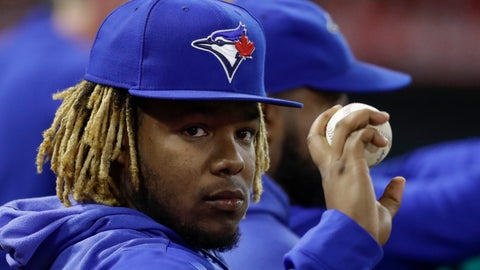 <p>               Toronto Blue Jays third baseman Vladimir Guerrero Jr. gestures to a fan during the fifth inning of the team's baseball game against the Los Angeles Angels in Anaheim, Calif., Thursday, May 2, 2019. (AP Photo/Chris Carlson)             </p>