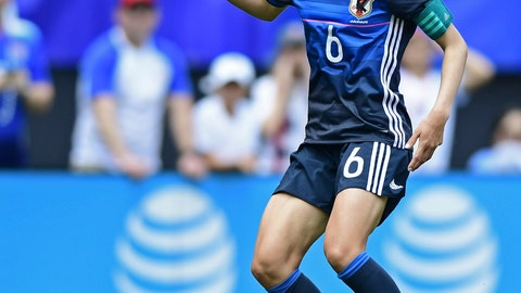 <p>               FILE - In this June 5, 2016, file photo, Japan defender Rumi Utsugi dribbles upfield during the first half of an international friendly soccer match against the United States in Cleveland, Ohio. (AP Photo/David Dermer, File)             </p>
