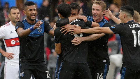 <p>               San Jose Earthquakes forward Chris Wondolowski, center back, is congratulated by teammates after scoring a goal against the Chicago Fire during the first half of an MLS soccer match in San Jose, Calif., Saturday, May 18, 2019. (AP Photo/Jeff Chiu)             </p>
