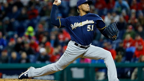 <p>               Milwaukee Brewers' Freddy Peralta pitches during the third inning of a baseball game against the Philadelphia Phillies, Monday, May 13, 2019, in Philadelphia. (AP Photo/Matt Slocum)             </p>