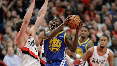 <p>               Golden State Warriors forward Draymond Green (23) shoots against Portland Trail Blazers forward Meyers Leonard, left, during the first half of Game 3 of the NBA basketball playoffs Western Conference finals, Saturday, May 18, 2019, in Portland, Ore. (AP Photo/Ted S. Warren)             </p>