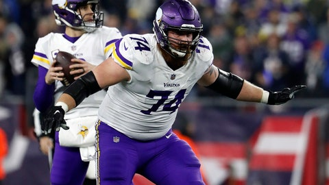 <p>               FILE - In this Dec. 2, 2018, file photo, Minnesota Vikings offensive tackle Mike Remmers blocks during an NFL football game against the New England Patriots at Gillette Stadium in Foxborough, Mass. The New York Giants signed the free agent offensive tackle on Tuesday, May 14, 2019. (Winslow Townson/AP Images for Panini, via AP, File)             </p>