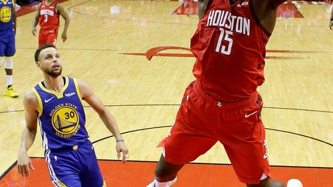 <p>               Houston Rockets center Clint Capela (15) dunks as Golden State Warriors guard Stephen Curry (30) watches during the first half of Game 3 of a second-round NBA basketball playoff series, Saturday, May 4, 2019, in Houston. (AP Photo/Eric Christian Smith)             </p>