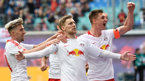 <p>               FILE - In this April 27, 2019 file photo, Leipzig's Emil Forsberg, 2nd right, celebrates after scoring a goal during the German Bundesliga soccer match between RB Leipzig and SC Freiburg in Leipzig, Germany. Fifty-four major titles compared to none, 119 years of existence against 10, some 290,000 club members versus 17 – the contrast between Bayern Munich and Leipzig could hardly be greater. The clubs meet in the German Cup final on Saturday, when Leipzig will bid for its first ever title and Bayern will hope to bring a happy end to a testing season with another domestic double. (AP Photo/Jens Meyer)             </p>