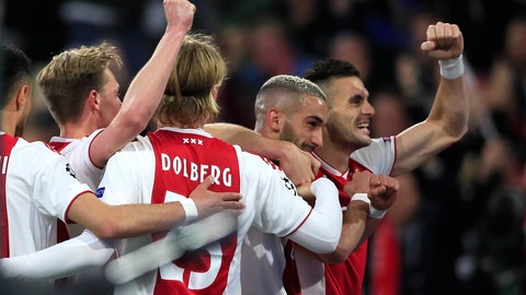 <p>               Ajax's Hakim Ziyech celebrates with Dusan Tadic, right,after scoring his side's second goal during the Champions League semifinal second leg soccer match between Ajax and Tottenham Hotspur at the Johan Cruyff ArenA in Amsterdam, Netherlands, Wednesday, May 8, 2019. (AP Photo/Peter Dejong)             </p>