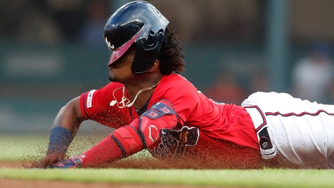 <p>               Atlanta Braves' Ronald Acuna Jr. (13) slides into second base with a double during the first inning of the team's baseball game against the Milwaukee Brewers on Friday, May 17, 2019, in Atlanta. (AP Photo/John Bazemore)             </p>