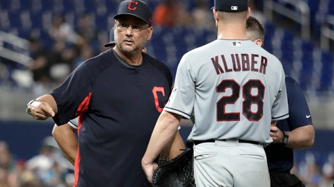 <p>               Cleveland Indians manager Terry Francona, left, stands on the mound with starting pitcher Corey Kluber (28) during the fifth inning of the team's baseball game against the Miami Marlins, Wednesday, May 1, 2019, in Miami. Kluber was hit by a single hit by Marlins' Brian Anderson. (AP Photo/Lynne Sladky)             </p>