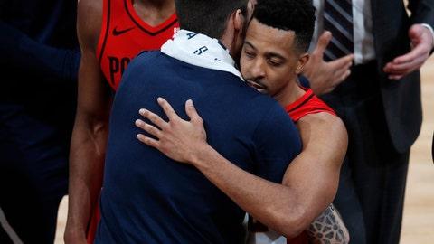 <p>               Denver Nuggets forward Juan Hernangomez, left, hugs Portland Trail Blazers guard CJ McCollum after Game 7 of an NBA basketball second-round playoff series Sunday, May 12, 2019, in Denver. (AP Photo/David Zalubowski)             </p>