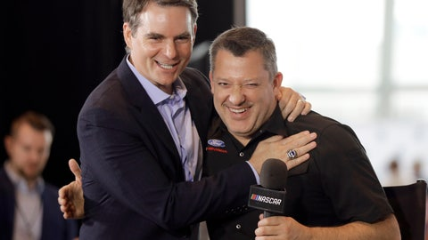 <p>               Tony Stewart, right, is congratulated by Jeff Gordon after being named to the NASCAR Hall of Fame class of 2020 during an announcement in Charlotte, N.C., Wednesday, May 22, 2019. (AP Photo/Chuck Burton)             </p>