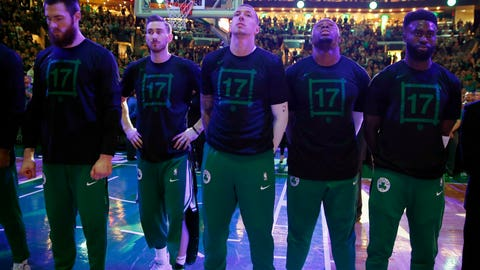 <p>               Boston Celtics wear the No. 17 during a moment of silence for former Celtic John Havlicek, who died last week, before Game 3 of the team's second-round NBA basketball playoff series against the Milwaukee Bucks in Boston, Friday, May 3, 2019. (AP Photo/Michael Dwyer)             </p>