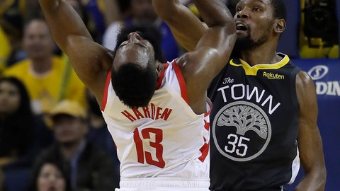 <p>               Golden State Warriors' Kevin Durant, right, defends against Houston Rockets' James Harden (13) during the second half in Game 2 of a second-round NBA basketball playoff series in Oakland, Calif., Tuesday, April 30, 2019. (AP Photo/Jeff Chiu)             </p>