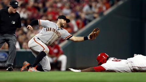 <p>               Cincinnati Reds' Yasiel Puig, right, steals third base ahead of the tag from San Francisco Giants' Evan Longoria in the sixth inning of a baseball game, Friday, May 3, 2019, in Cincinnati. (AP Photo/Aaron Doster)             </p>