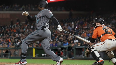 <p>               Arizona Diamondbacks' Adam Jones watches his three-run home run in front of San Francisco Giants catcher Stephen Vogt during the fifth inning of a baseball game in San Francisco, Friday, May 24, 2019. (AP Photo/Jeff Chiu)             </p>