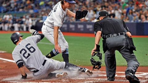 <p>               Home plate umpire Cory Blaser, right, watches as New York Yankees' DJ LeMahieu (26) scores on a passed ball, as pitcher Tyler Glasnow, center, covers the plate during the first inning of a baseball game Friday, May 10, 2019, in St. Petersburg, Fla. (AP Photo/Steve Nesius)             </p>