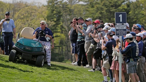 <p>               John Daly drives up to the first tee in a golf cart during the first round of the PGA Championship golf tournament, Thursday, May 16, 2019, at Bethpage Black in Farmingdale, N.Y. (AP Photo/Seth Wenig)             </p>