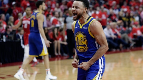 <p>               Golden State Warriors guard Stephen Curry (30) celebrates the team's win over the Houston Rockets in Game 6 of a second-round NBA basketball playoff series, Friday, May 10, 2019, in Houston. Golden State won 118-113, winning the series. (AP Photo/Eric Gay)             </p>