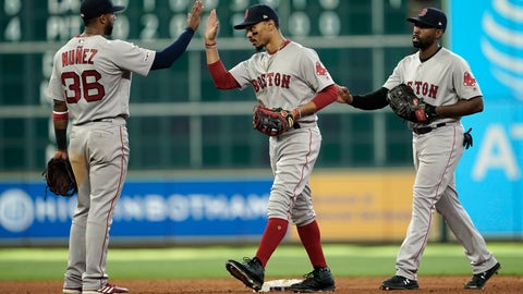 <p>               Boston Red Sox's Eduardo Nunez (36), Mookie Betts, center, and Jackie Bradley Jr. celebrate after a baseball game against the Houston Astros Sunday, May 26, 2019, in Houston. The Red Sox won 4-1. (AP Photo/David J. Phillip)             </p>
