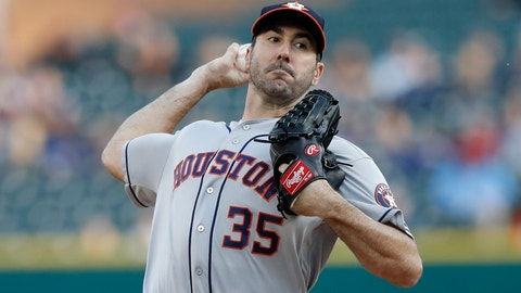 <p>               Houston Astros starting pitcher Justin Verlander throws during the first inning of a baseball game against the Detroit Tigers, Wednesday, May 15, 2019, in Detroit. (AP Photo/Carlos Osorio)             </p>