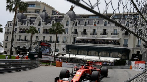 <p>               Ferrari driver Charles Leclerc of Monaco steers his car during the third free practice at the Monaco racetrack, in Monaco, Saturday, May 25, 2019. The Formula one race will be held on Sunday. (AP Photo/Luca Bruno)             </p>