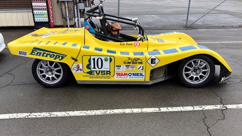 <p>               In this April 5, 2019 photo, a driver sits in an all-electric single-seat race car that competed in the Green Grand Prix, a fuel mileage rally for alternate-fuel vehicles and hybrids at Watkins Glen International in Watkins Glen, N.Y. It is the only event of its kind in the United States sanctioned and insured by the Sports Car Club of America and just celebrated its 15th anniversary. (AP Photo/John Kekis)             </p>