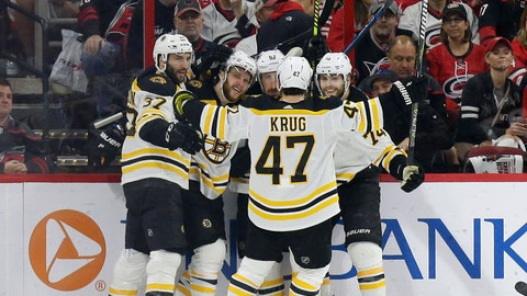 <p>               Boston Bruins' Patrice Bergeron (37) David Pastrnak, second from left, Brad Marchand (63), Jake DeBrusk (74) and Torey Krug (47) celebrate Pastrnak's goal against the Carolina Hurricanes during the second period in Game 4 of the NHL hockey Stanley Cup Eastern Conference finals in Raleigh, N.C., Thursday, May 16, 2019. (AP Photo/Gerry Broome)             </p>