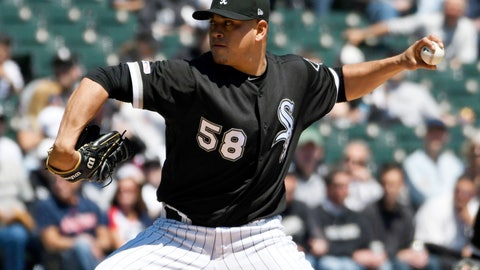 <p>               Chicago White Sox starter Manny Banuelos pitches against the Cleveland Indians during the first inning of a baseball game, Tuesday, May 14, 2019, in Chicago. (AP Photo/David Banks)             </p>