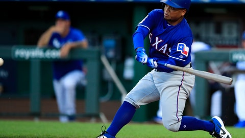<p>               Texas Rangers designated hitter Willie Calhoun hits a two-run home run off Kansas City Royals starting pitcher Jorge Lopez during the first inning of a baseball game at Kauffman Stadium in Kansas City, Mo., Wednesday, May 15, 2019. (AP Photo/Orlin Wagner)             </p>