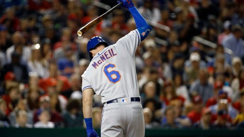 <p>               New York Mets' Jeff McNeil reacts after striking out in the fifth inning of a baseball game against the Washington Nationals, Wednesday, May 15, 2019, in Washington. Washington won 5-1. (AP Photo/Patrick Semansky)             </p>
