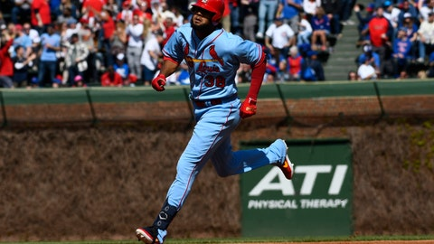 <p>               St. Louis Cardinals' Jose Martinez (38) rounds the bases after hitting a home run during the second inning of a baseball game against the Chicago Cubs, Saturday, May 4, 2019, in Chicago. (AP Photo/Matt Marton)             </p>