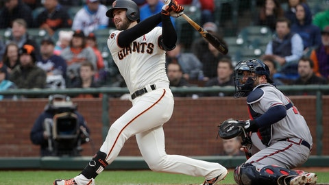 <p>               San Francisco Giants' Evan Longoria watches his RBI double in front of Atlanta Braves catcher Brian McCann during the first inning of a baseball game in San Francisco, Tuesday, May 21, 2019. (AP Photo/Jeff Chiu)             </p>