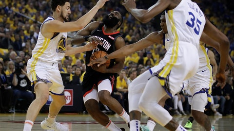 <p>               Houston Rockets' James Harden, second from left, drives the ball against Golden State Warriors' Klay Thompson, left, Kevon Looney, and Kevin Durant, right fribtm during the first half of Game 5 of a second-round NBA basketball playoff series Wednesday, May 8, 2019, in Oakland, Calif. (AP Photo/Ben Margot)             </p>