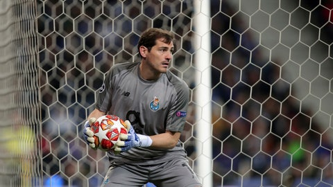 <p>               Porto goalkeeper Iker Casillas holds the ball during the Champions League quarterfinals, 2nd leg, soccer match between FC Porto and Liverpool at the Dragao stadium in Porto, Portugal, Wednesday, April 17, 2019. (AP Photo/Luis Vieira)             </p>